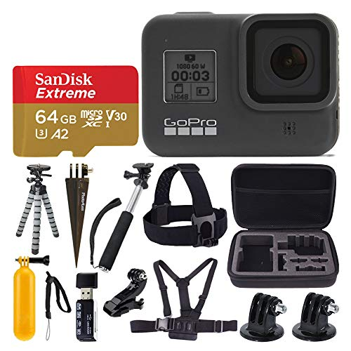 GoPro HERO8 Black Waterproof Action Camera w/Touch Screen 4K HD Video 12MP Photos + Sandisk Extreme 64GB Micro Memory Card + Hard Case + Head Strap + Chest Strap + Gopro Hero 8 - Top Value Accessories