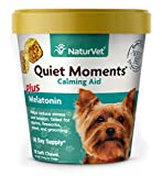 NaturVet – Quiet Moments Calming Aid for Dogs - Plus Melatonin – Helps Reduce Stress & Promote Relaxation – Great for Storms, Fireworks, Separation, Travel & Grooming – 70 Soft Chews