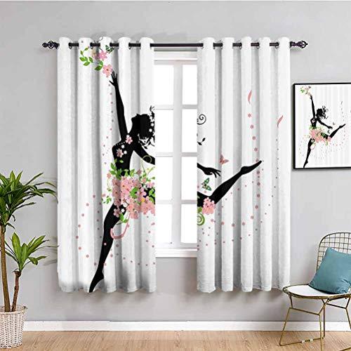 Niedlicher Blumengardine, tanzende Frau, Silhouette mit floralem Frühlingsblumen-Druck, wiederholbare Verwendung, Hellrosa, Grün, Schwarz, 274 x 213 cm (B x L)