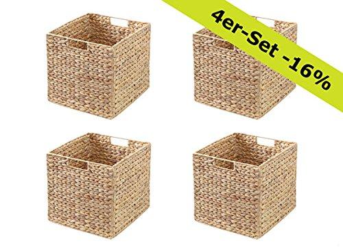Ikea Kallax Expedit Regal Korb 34 x 32 x 32 cm aus Wasserhyazinthe Natur Faltkorb Flechtkorb Regalbox Storage Box Aufbewahrungskorb Schrankkorb klappbar faltbar und sehr stabil 4er-Set Sparpreis