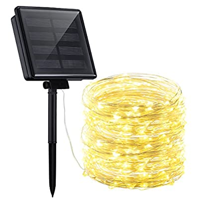 Mpow Solar String Lights, 72ft 200LED Outdoor String Lights, 8 Modes Waterproof Decorative Fairy String Lights for Patio, Lawn, Garden, Party, Wedding, Christmas (Warm White)