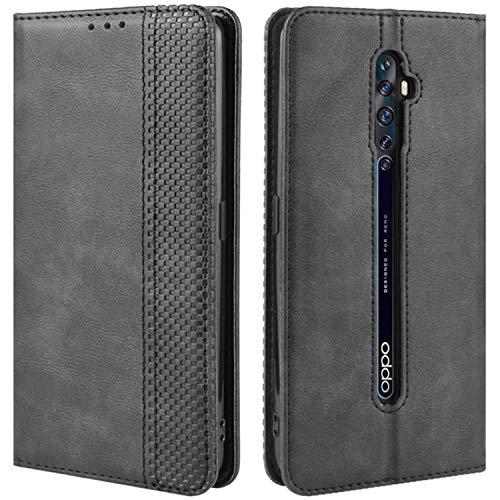 HualuBro Handyhülle für Oppo Reno 2Z / 2F Hülle, Retro Leder Brieftasche Tasche Schutzhülle Handytasche LederHülle Flip Hülle Cover für Oppo Reno2 F / Reno2 Z - Schwarz
