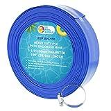 U.S. Pool Supply 1-1/2' x 50' Heavy Duty Blue PVC Swimming Pool Backwash Hose with Hose Clamp