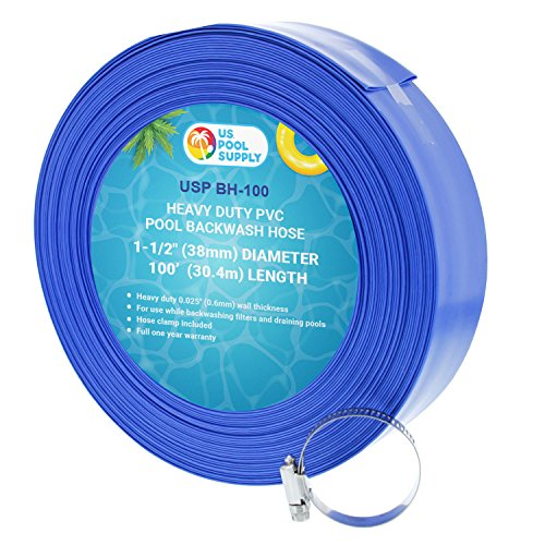 US Pool Supply 11/2quot x 100#039 Heavy Duty Blue PVC Swimming Pool Backwash Hose with Hose Clamp