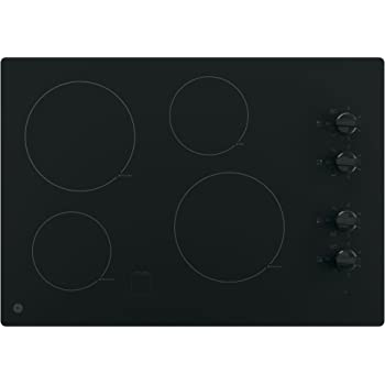 GE JP3030DJBB 30 Inch Smoothtop Electric Cooktop with 4 Radiant Elements, Knob Controls, Keep Warm Melt Setting, Black
