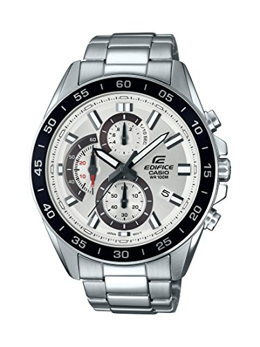 Casio Men's Edifice Quartz Watch with Stainless-Steel Strap, Silver, 4 (Model: EFV-550D-7AVCR)