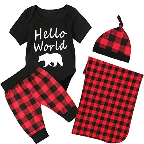 Newborn Christmas Outfit Set Baby Boy Hello World Pant Clothing Set with Blanket(Black, 0-3 Months)