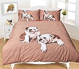Night Zone - Parure de lit bulldogs anglais - imprimé photographique effet 3D - multicolore - 2 personnes