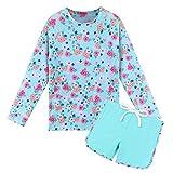 HUAANIUE Mädchen 2-teiliges Langarm-Badeanzug Sonnenschutz Badeanzug Kinder-Badeanzug Sommer-Druck Blumen-Design Sonnenschutz LSF 50+ Badeanzug für Mädchen