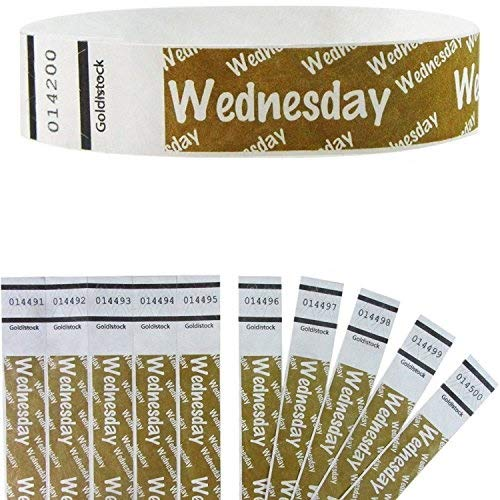 """Heavier Tyvek Wristbands 7.5 Mil - Goldistock Wednesday 500 Count (Metallic Gold)– Days of The Week ¾"""" Arm Bands- Paper-Like Party Armbands - Heavier Tyvek Wrist Bands = Superior Events"""