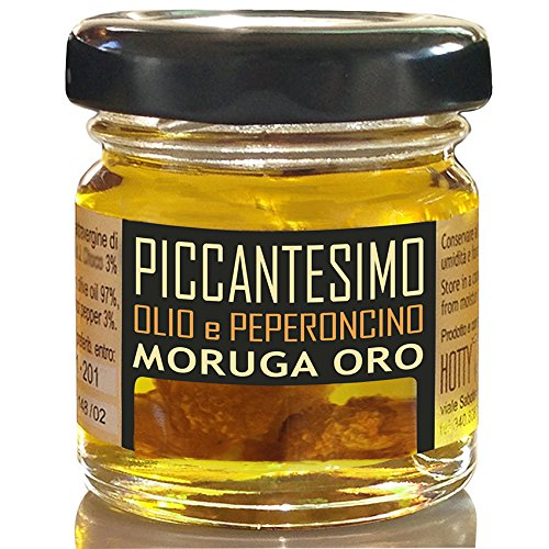 Olio Piccante con MORUGA ORO Miglior Sapore tra i SUPER PICCANTI valutati da Hotty Place Piccante ESTREMO Extravergine Oliva e Peperoncino PICCANTESIMO 30ml