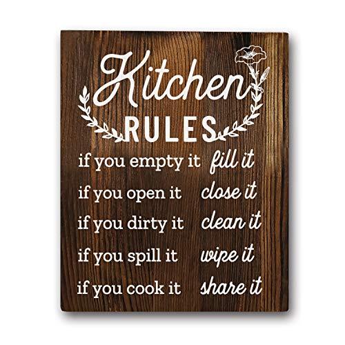 "Funny Kitchen Rules Sayings Wall Art Prints 8""x10"" Wood Wall Art Rustic Farmhouse Décor"