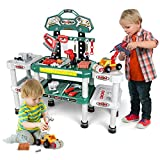 123Pcs Kids Workbench Toy Tool Set -Toddler Toy Set for Boys Age 2-8, Pretend Play Tool Bench with Widened Design-Construction Toy Vehicles with Electric Drill, Best Gifts for Baby Children Boys