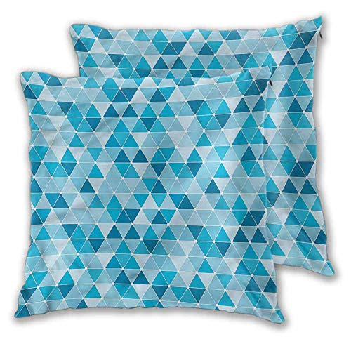 King Pillow case Blue Living Room Bedroom car Decoration Geometric Triangles Mosaic W23 xL23