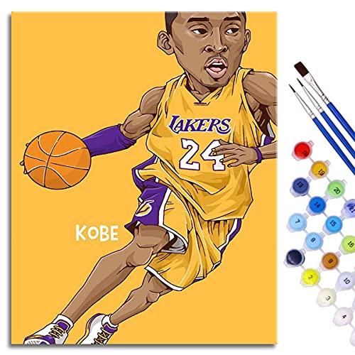 Kits de pintura por números, kit de pintura acrílica para bricolaje, dibujo de Kobe de dibujos animados con pinceles, decoración navideña, regalos, 50 x 40 cm, estrella de baloncesto enmarcada