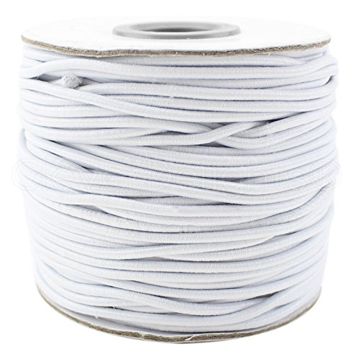 CleverDelights White Fabric Elastic Cord - 125 Feet - 2mm (1/16') - Crafts Beading Jewelry Stretch Shock Cording