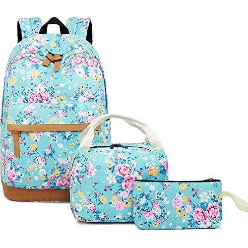 Girls Backpack for School Teen Girls Bookbag School Bag Lunch Bag Set (Floral-Light Green)