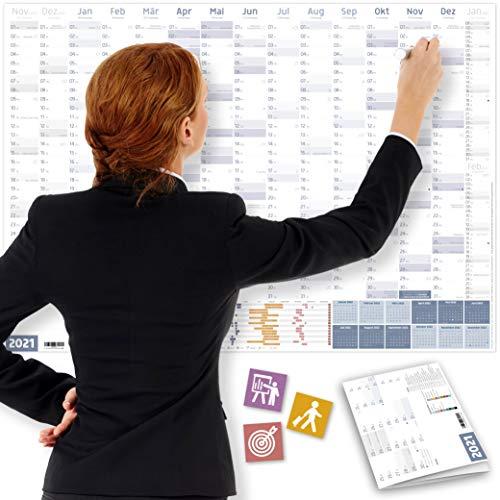 Wandkalender 2021 OFFICE, DIN A1+ (89x63 cm) | GEFALTET | 228 Sticker für Projekte, Meetings | 16 Monate: Nov'20-Feb'22 | Jahresplaner für Office, Büro, Teams | Ferien, Feiertage, Quartale