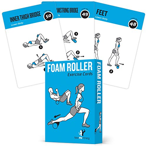 NewMe FitnessFoam Roller Workout Cards - Instructional Deck for Women & Men, Beginner Fitness Guide to Training Exercises at Home or Gym