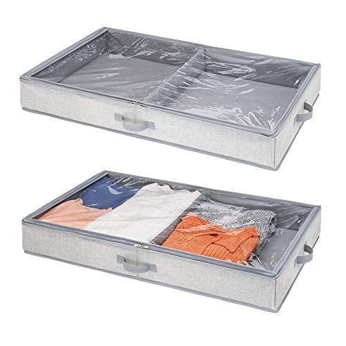 mDesign Organizador de zapatos y ropa para ubicar debajo de la cama - Guarda zapatos y ropa con 2 divisiones - Cajones bajo cama con tapa transparente y cierre con cremallera - gris - Paquete de 2