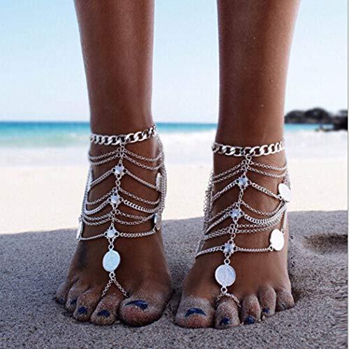 Sethain Caviglia vintage Argento Bracciali alla caviglia bohémien Gioielli piede metallico Moda Catene a piedi per donne e ragazze (1 pezzo)