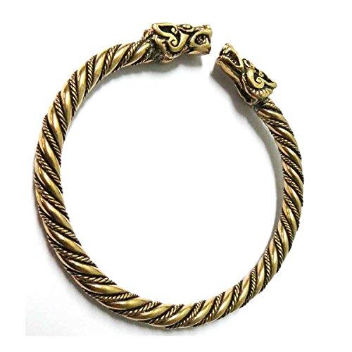 Drachensilber Himmelswölfe Wikinger Schmuck Armreif Bronze Armschmuck Hati Skalli Ø außen 6,5 cm