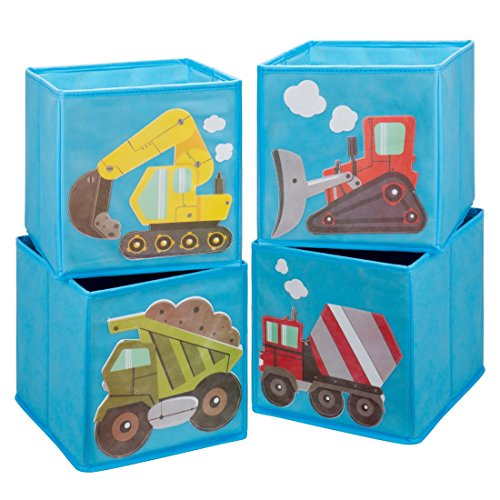 Ava & Kings Toddler Cube Storage Bins Shelf Fabric Drawers Container - Kids Light Blue Construction Theme Toy Box Truck Organizer for Boys Girls - Fits 11x11 to 13x13 Cubical Shelves - Set of 4