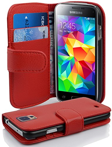 Cadorabo Hülle für Samsung Galaxy S5 Mini / S5 Mini DUOS - Hülle in Inferno ROT – Handyhülle mit Kartenfach aus struktriertem Kunstleder - Hülle Cover Schutzhülle Etui Tasche Book Klapp Style