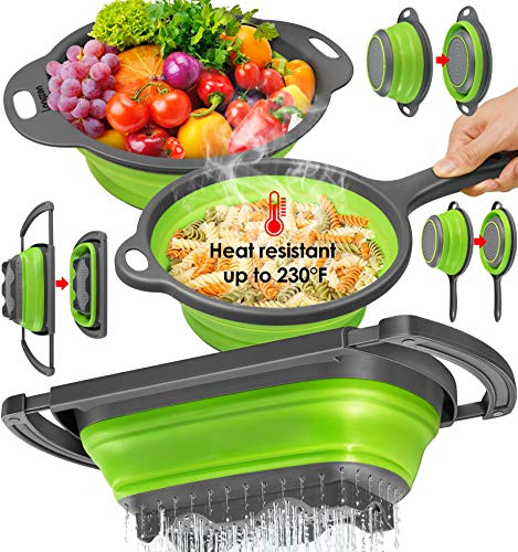 longzon Collapsible Colander Silicone  Set of 3  Over The Sink Strainers 6 Quart Diameter Sizes 8#039#039  2 Quart and 95quot  3 Quart Colanders for Pasta Vegetable with Extendable Handles Green