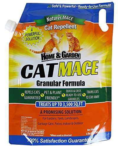 Nature's Mace Cat Repellent 6LB / Treats 3,500 Sq. Ft. / Keep Cats Out of Your Lawn and Garden/Train Your Cat to Stay Out of Bushes/Safe to use Around Children & Plants