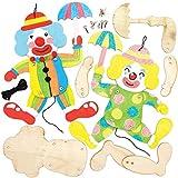 Baker Ross Kits de Marionetas de Madera con Forma de Payaso AT886 (paquete de 4) para proyectos de arte y manualidades para niños, surtidos