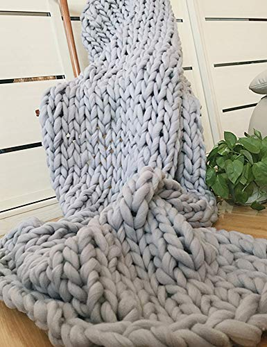 "SunJet Chunky Knit Blanket Handmade Knitting Icelandic Wool Nap Blanket Roving Merino Warm Knitting Throw for Bedroom Decor Chair Sofa Pet Mat (50""x60""(127x152cm), Beige)"