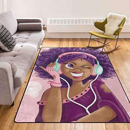 Black Girl Magic Hip Hop Eye Shadow Listen Music Throw Rugs Carpet Modern Area Rug Floor Pad Rugs Bathroom Rug Mat Yoga Mat Home Decor for Kitchen/Living/Bedroom/Playing Room