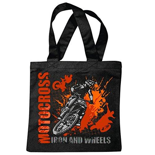Tasche Umhängetasche Iron and Wheels EXTREM Sport Motocross Outdoor Motocross Bike CROSSBIKE Freestyle Einkaufstasche Schulbeutel Turnbeutel in Schwarz