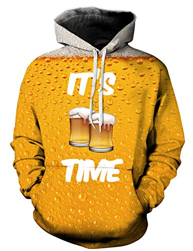 Goodstoworld Coole 3D Oktoberfest Bier Pullover Männer Damen It is Beer time Druck Langarm Hoodie Pullover Sweatshirt Kapuze Jersey XL