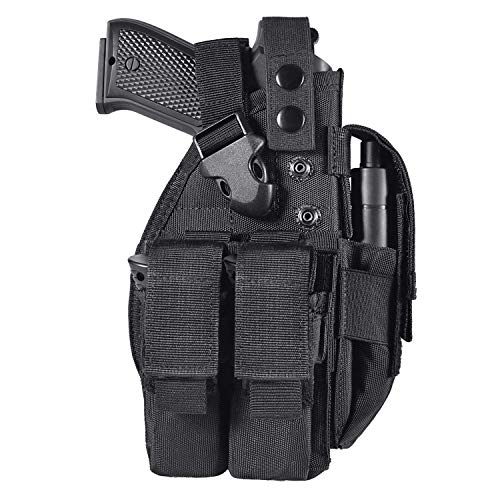 LarKoo Pistol Pouch Holster for 9mm 1911 Glock - Universal Adjustable Hand Gun Case Molle Pistol Belt Holster Bag with Double Mag Magazine Pouch for Convertible Ambidextrous Left Right Hand