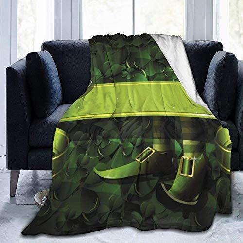 July flanel fleece deken St. Patricks Day Green Floral Abstract Shamrock Clover super zachte gezellige dekbed