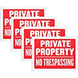 Private Property No Trespassing Sign - Red and white, Flexible Plastic, 9 x 12 Inches, High Visibility Waterproof Signboard Tags for Warning Security Alert (Pack of 4) - By Hespex