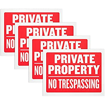 Private Property No Trespassing Sign - Red and white Flexible Plastic 9 x 12 Inches High Visibility Waterproof Signboard Tags for Warning Security Alert  Pack of 4  - By Hespex