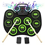 VOLADOR Electronic Drum Set, 9 Pads Roll Up Electric Drum Kit With Bluetooth, 2 Built-in Speaker, Headphone Jack, Portable Digital Midi Practice Drum Pad for Kids Beginners