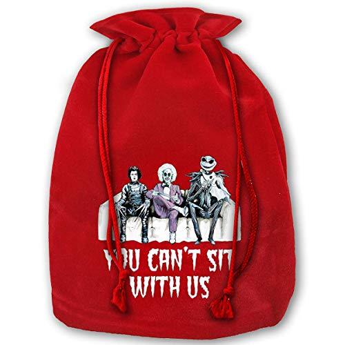 Just Life No Puedes sentarte con Nosotros Personajes de Tim Burton Bolsa de Lazo navideña Bolsas de Regalo Saco de Papá Noel para decoración de Fiesta de Navidad