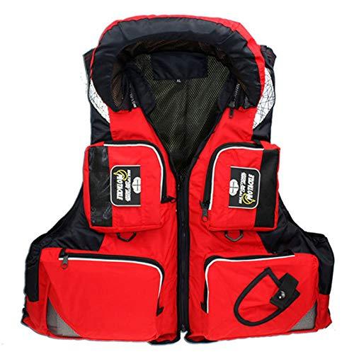 Chaleco Salvavidas, Chaleco Salvavidas Para Kayak Chaleco Salvavidas Seguridad Ajustable Con Múltiples Bolsillos Chaleco Auxiliar Flotante Adecuado Para Snorkel Paseos En Bote Y Pesca,Rojo,XXXL