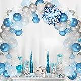 Sursurprise Decoracion Fiesta Frozen, Paquete 90 Kit Arco Guirnalda Globos, Globos Copo Nieve para Decoraciones cumpleaños Frozen Elsa, Baby Shower Fiesta Bodas