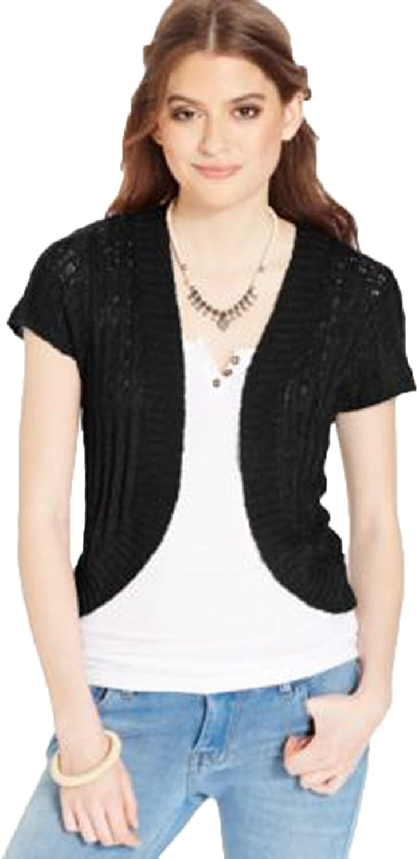 American Rag ShortSleeve Sweater Shrug (Black, S)