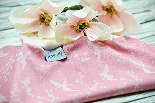 Strampelsack aus Bio-Baumwolle, 44 48 50, für Frühchen, kleine Babys, Neugeborene, Schlafsack zum Pucken, Pucksack für Bett Kinderwagen, rosa creme, Elfen, Feen, Blumen, Geschenk
