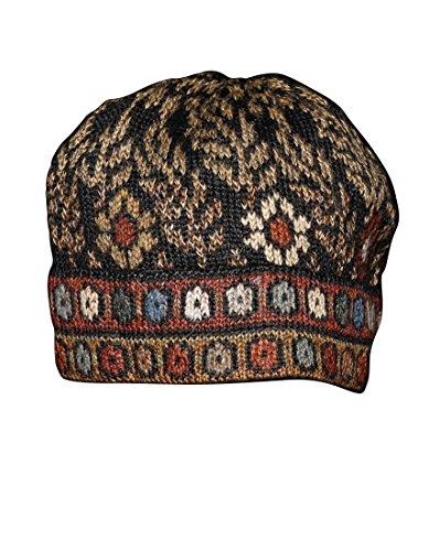 Invisible World Damen und Herren 100% Alpaka Wintermütze - Handgestrickte und warme Winter Beanie Mütze - Tibet - Größe M