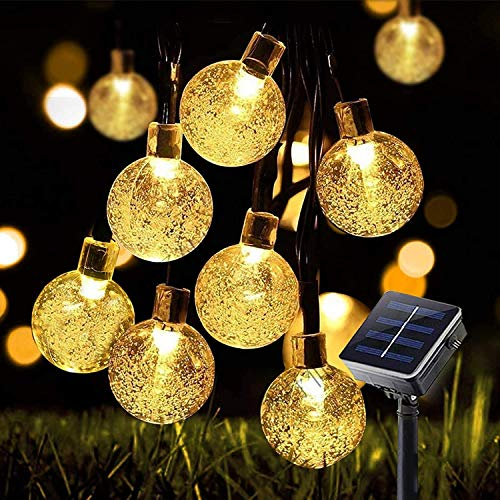 Solar String Lights Globe 33 Feet 60 Crystal Balls Waterproof LED Fairy Lights 8 Modes Outdoor Starry Lights Solar Powered String Light for Garden Yard Home (Warm White)