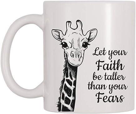 90a07cfc7d3 AliceHitMood - Let Your Faith Be Taller Than Your Fears Mug, Giraffe,  Animal,