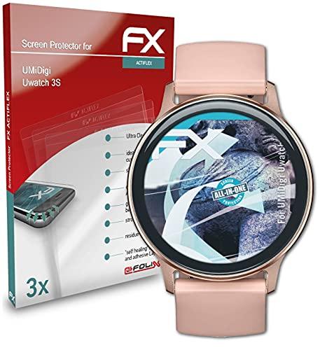 atFoliX Schutzfolie kompatibel mit UMiDigi Uwatch 3S Folie, ultraklare & Flexible FX Bildschirmschutzfolie (3X)