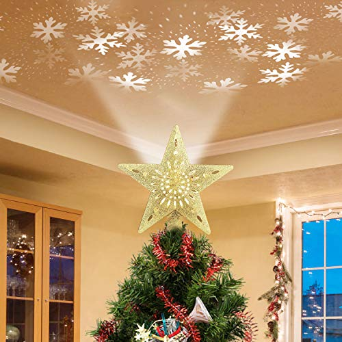 Christmas Tree Topper Lighted Star [Gold],3D Hollow Sparkling Star Christmas Tree Topper with Rotating Magic Cool White Snowflake Projector for Christmas Tree Ornament (Gold)